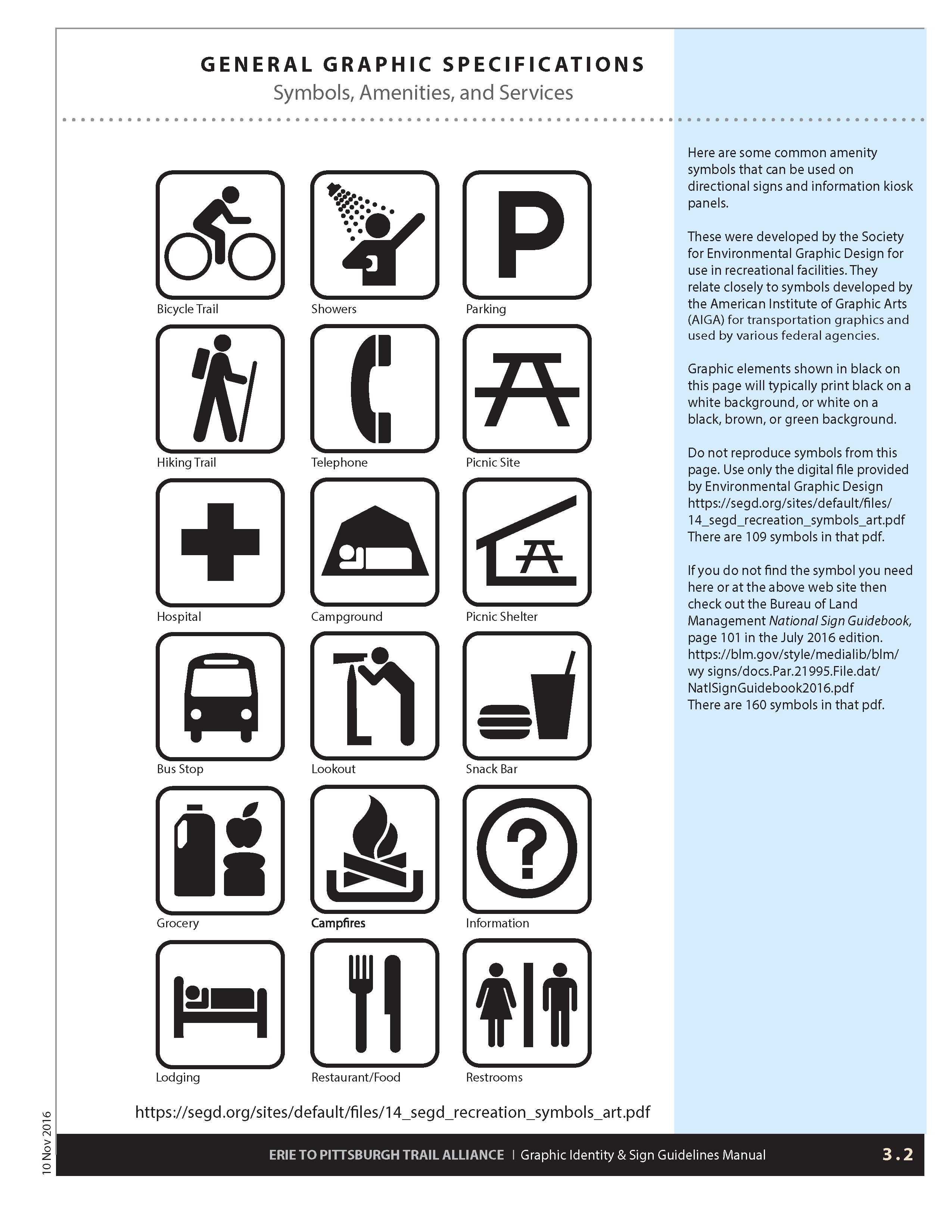3.2 Symbols, amenities and Services | Erie to Pittsburgh